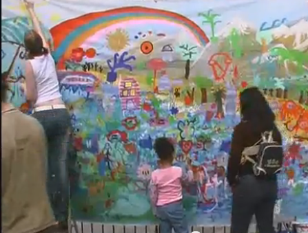 children painting in Somers Town at the Festival of cultures graffiti